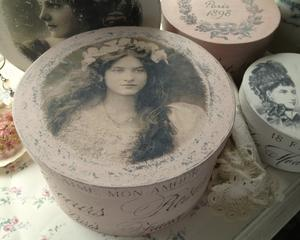 Puderrosa hattask Coeurs Roses shabby chic