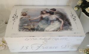 Trälåda / skrin shabby chic med änglar och fransk text