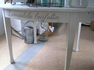 Ovalt matbord med latinska blomnamn