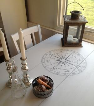 Plankbord i skärgårdsstil med kompassrosor