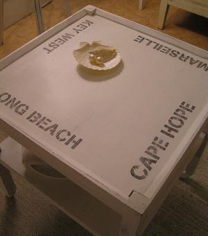 Rullbord soffbord maritim stil med text
