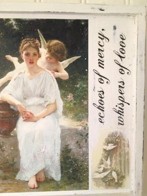 Tavla med änglar och engelsk text
