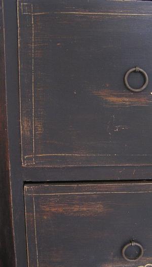 Antik svart sekretär med handmålad guldtext