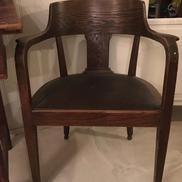Antik skrivbordsstol i jugend med inbyggda hjul
