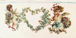 Nätt träsoffa med änglar och rosor