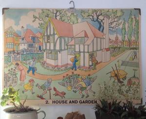 Gammal plansch HOUSE AND GARDEN