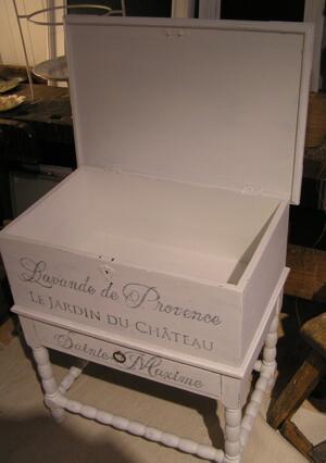 Kista på ben med fransk text